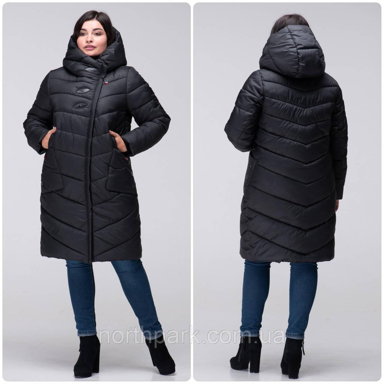 Стеганное зимнее женское пальто VS 192 большого размера Черный, 50