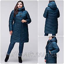 Стеганное зимове жіноче пальто VS 192 великого розміру Бірюзовий, 50