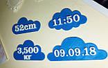 Топперы метрика на торт, Топпер метрика облака с данными о рождении, топперы на торт на рождение,Fortune3D, фото 2