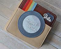 TRAVELbook (тревелбук) - фото альбом ручной работы. Цвет крафт и голубой, фото 1