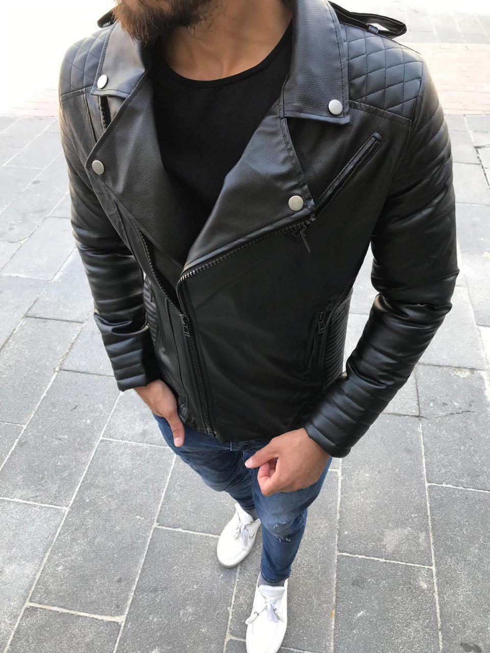 Кожанная куртка мужская без капюшона