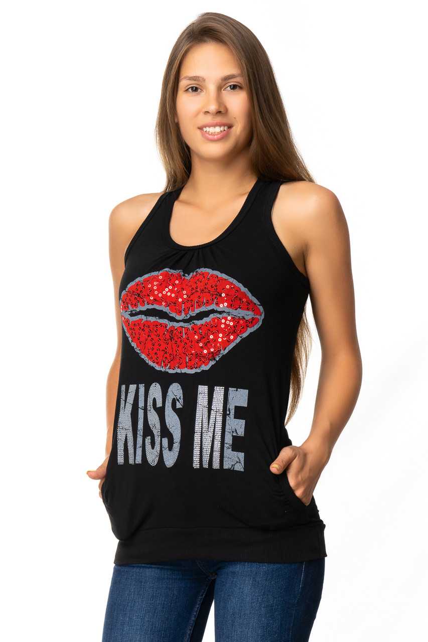 Стильная летняя майка KISS ME (в расцветках 44-46)