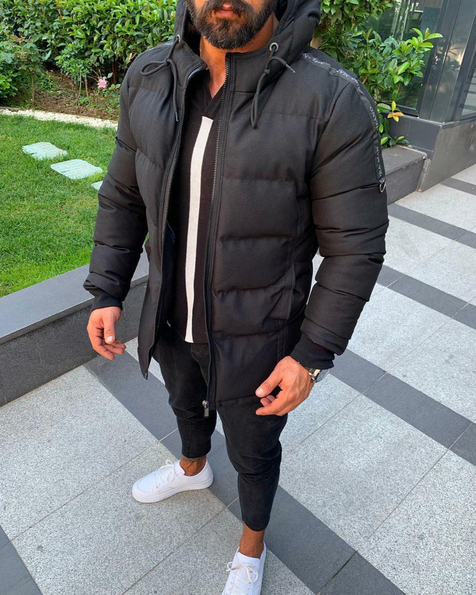 Куртка тепла чоловіча осінь-зима чорного кольору з капюшоном