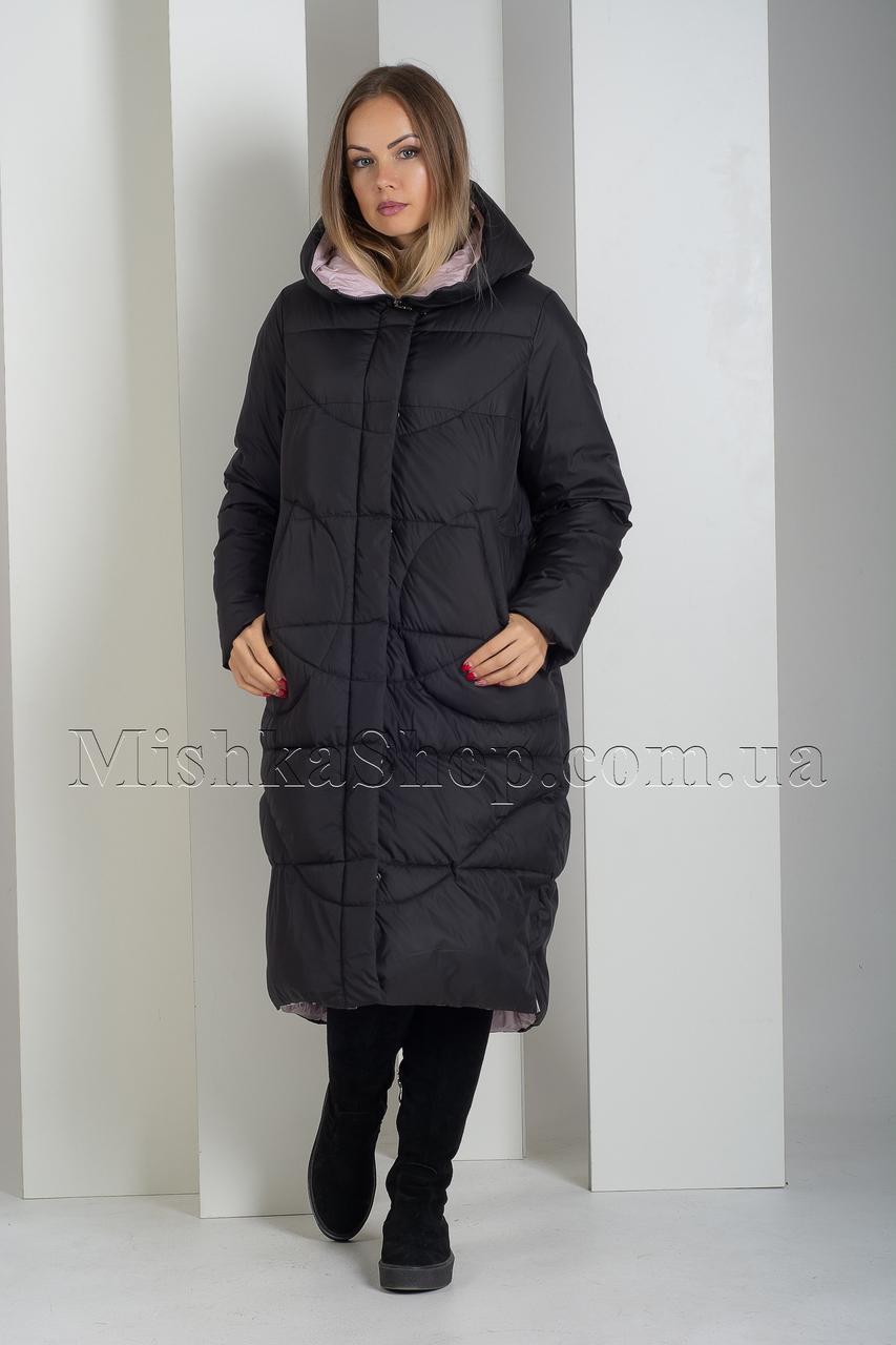 Качественный тёплый пуховик больших размеров чёрного цвета Astrid AR-6596