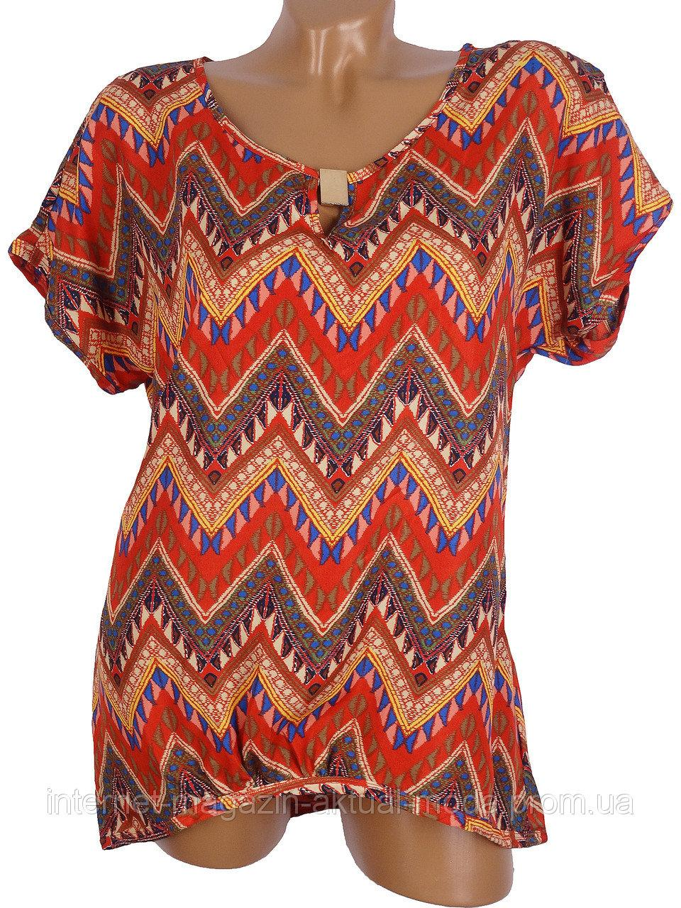 Легкая блуза-туника с узором (в расцветках 46-50)