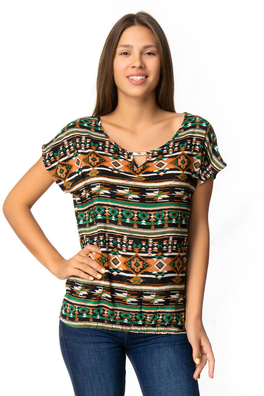 Яркая блузка с орнаментом (в расцветках 44-48)