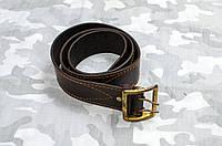 Ремень офицерский кожаный  коричневый ( пряжка латунь)