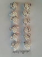 Металлический крабик с жемчугом серебро