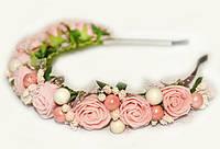 Обруч с розовыми цветами для девочки