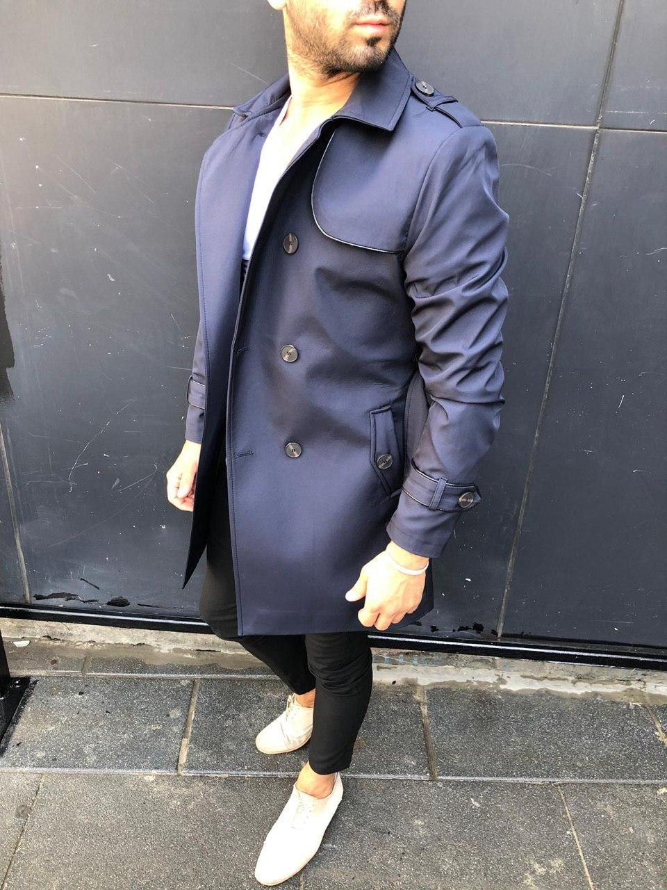 😜 Пальто-плащ - Мужское  синее пальто-плащ