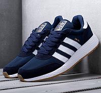 Кроссовки Мужские в стиле Adidas Iniki Runner Boost Синие Адидас (размер 43)