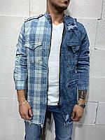 😜 Мужская куртка джинсовая (синяя) с необычным дизайном
