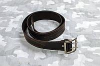 Ремень офицерский коричневый кожаный (пряжка никель)
