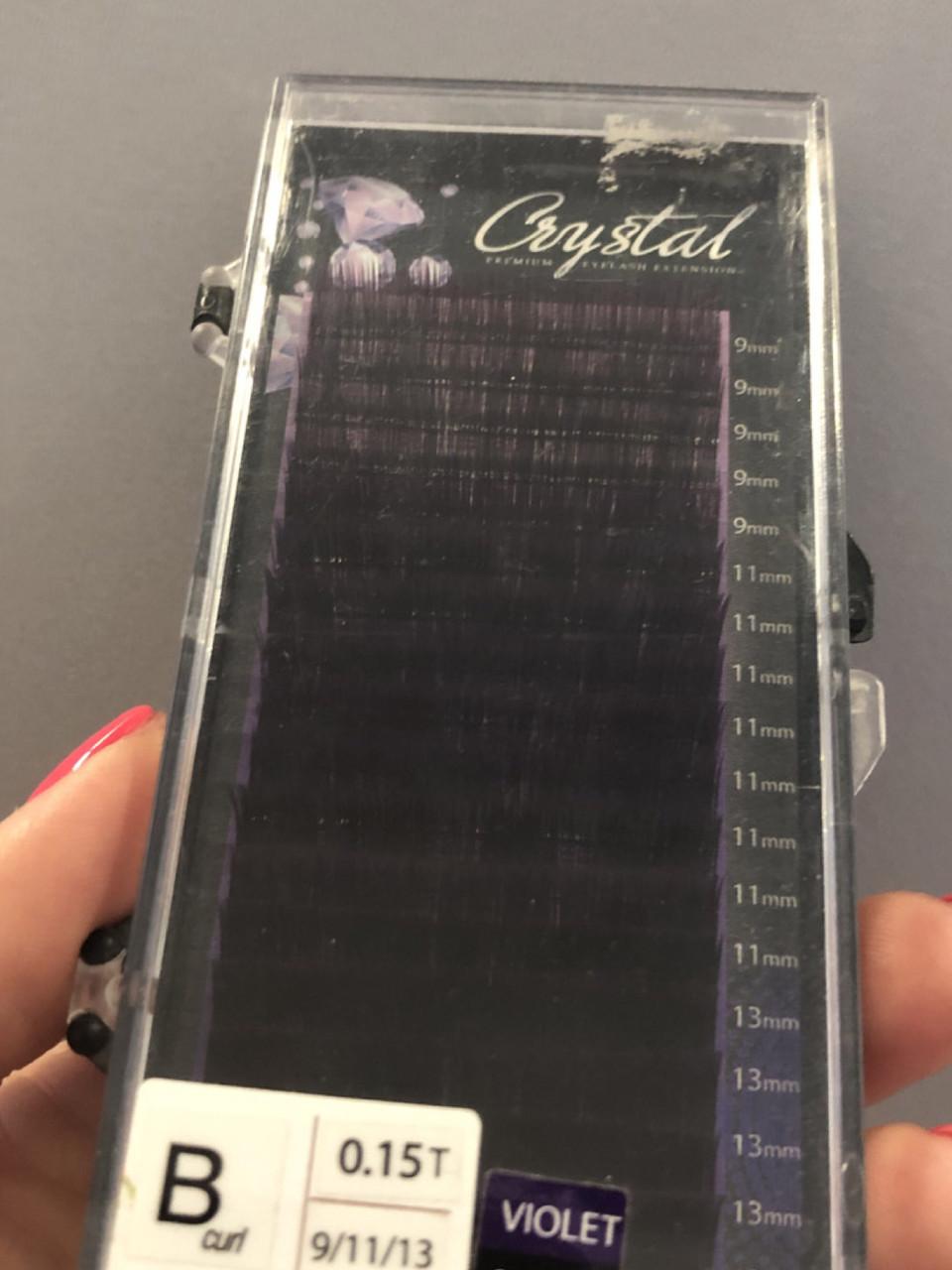 """Ресницы омбре чёрно - фиолетовые """"Crystal"""", микс В/0,15 (9-11-13 мм)"""