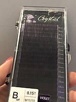 """Ресницы омбре чёрно - фиолетовые """"Crystal"""", микс В/0,15 (9-11-13 мм), фото 1"""