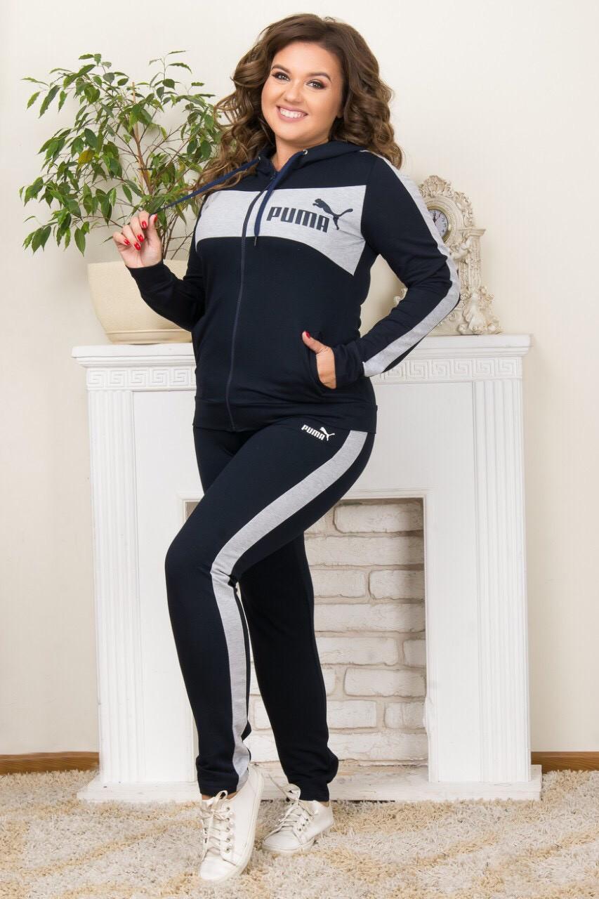 Костюм спортивный женский puma серый лампас
