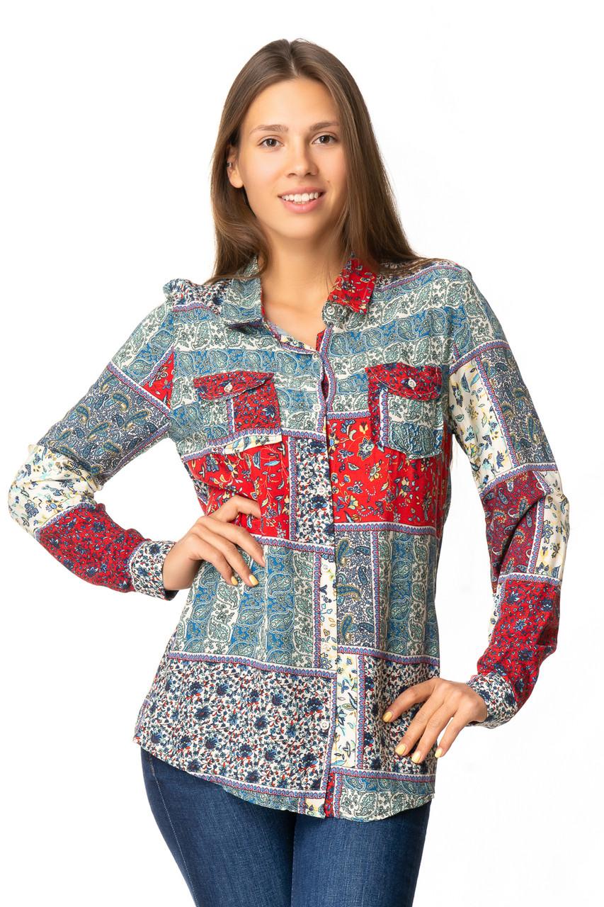 Красивая женская рубашка с карманами 40-44