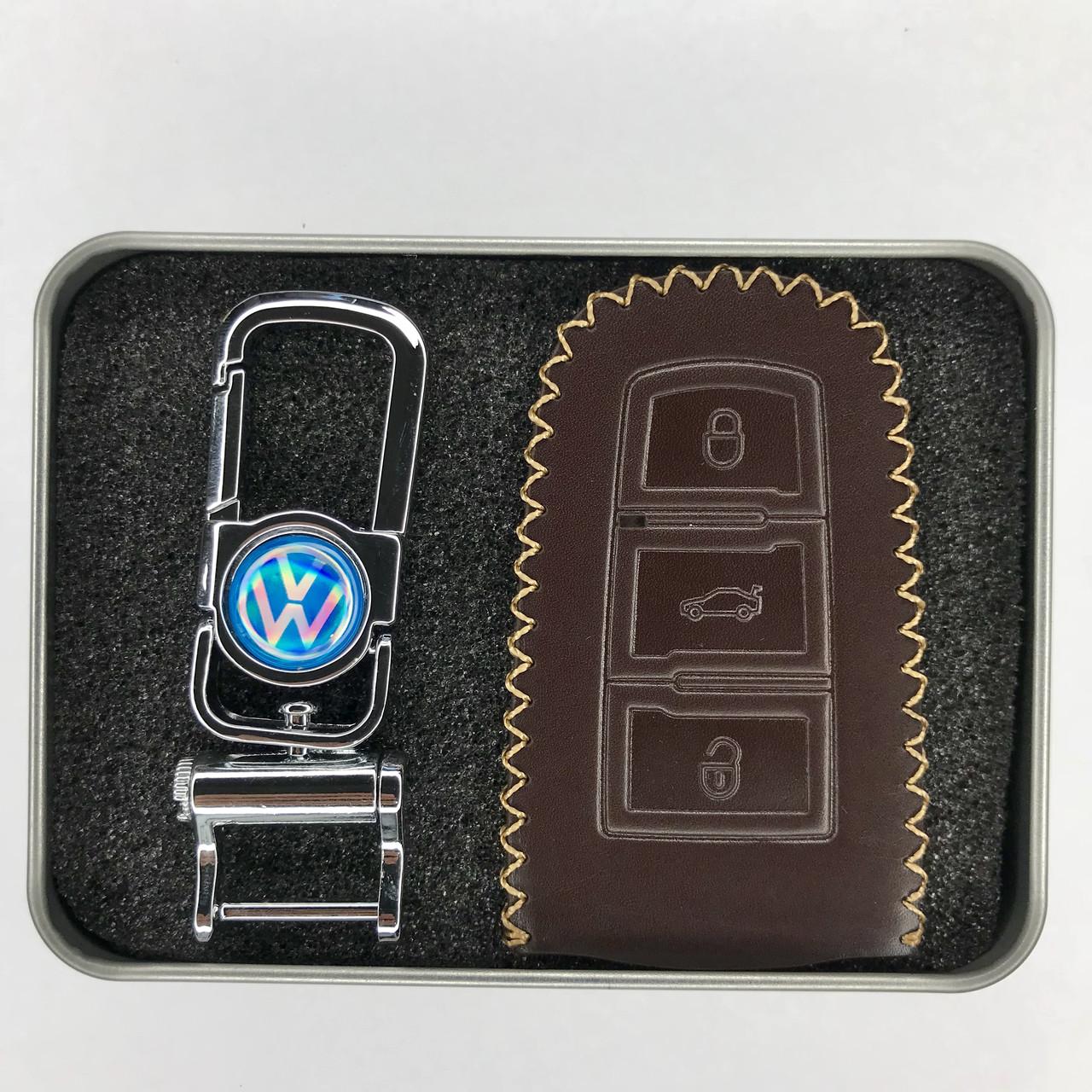 Кожаный чехол для ключа Volkswagen Passat,Golf,Tiguan,Touareg,Polo, Jetta,Amarok,Beetle,Bora,Сaddy,Passat