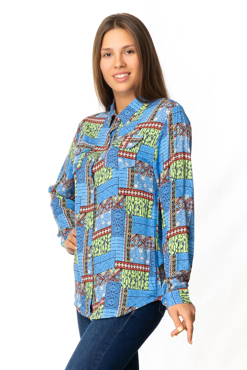 Яркая женская рубашка из штапеля (40-46)