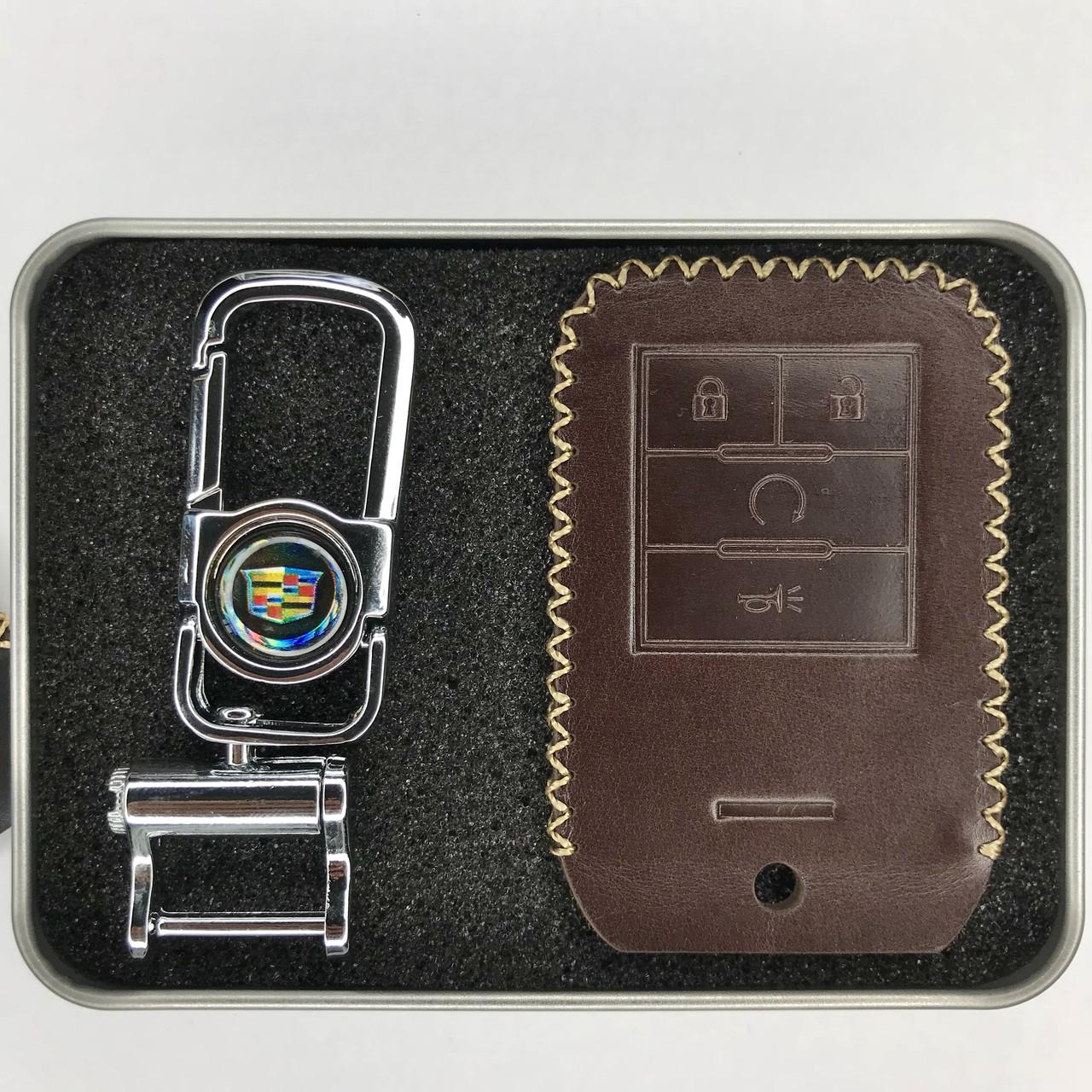 Кожаный чехол для ключа Cadillac ATS,BLS,CT6,CTS,CTS-V,DTS,ELR ,Escalade,Seville,SRX,STS,XT4,XT5,XTS