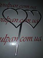 Топпер для торта сердечки 2 сердца серебряные