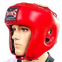 Шлем боксерский открытый Кожа TWINS HGL-8-RD (реплика)