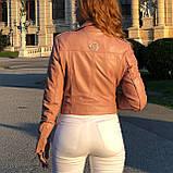 Розовая брендовая косуха из кожи, фото 8