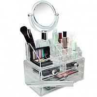 Компактный акриловый органайзер с зеркалом для хранения косметики, фото 1