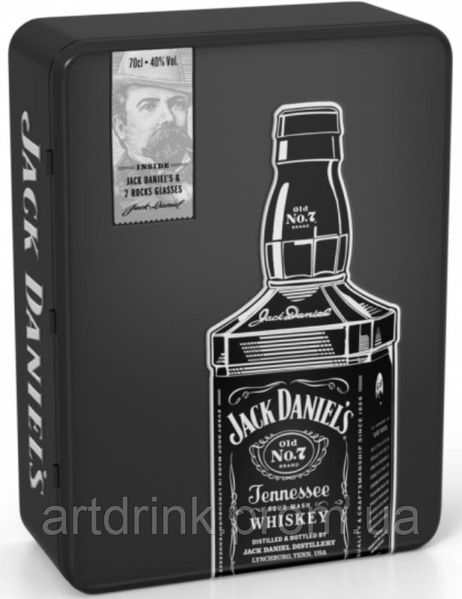 Виски Jack Daniel's (Джек Дэниэлс)  0,7L with 2 glasses in metal box