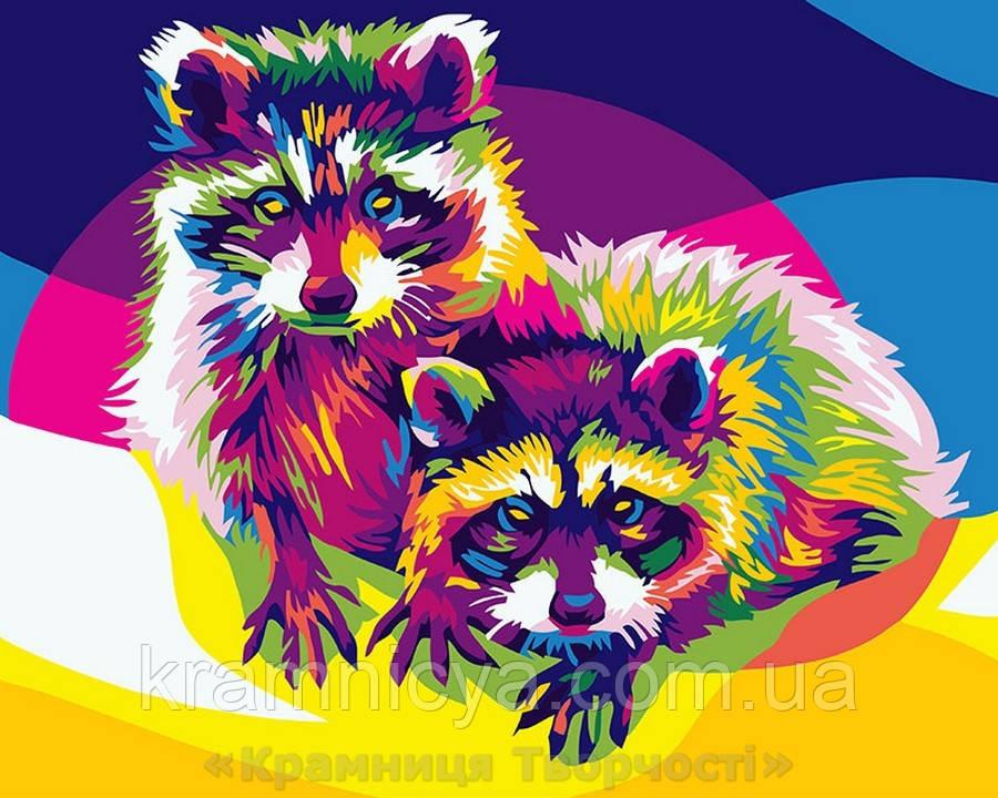 Картина по номерам Brushme 40х50 Радужные еноты (GX26202)