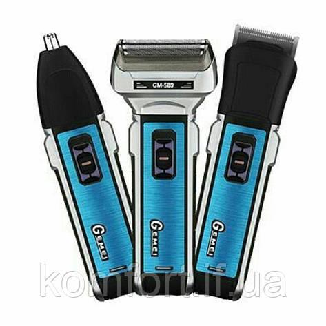 Аккумуляторная машинка для стрижки волос и бороды 3 в 1 триммер бритва Gemei GM-589, фото 2