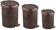 Ведро для мусора с педалью 3в1 Ажур коричневое Elif plastik 320-5-LF