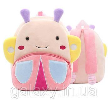 Рюкзак Бабочка детский плюшевый для девочки в садик качество бренд KAKOO