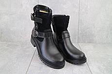 Стильные женские зимние ботинки из натуральной кожи и замши с ремешками