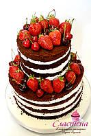 "Свадебный шоколадный  торт  ""Naked cake"""
