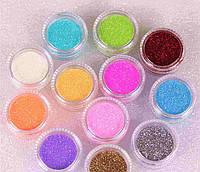 Блестки песок для дизайна ногтей 12 в 1
