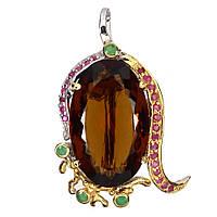 Серебряная Брошь ручной работы с натуральными камнями - Коньячный Кварц, Изумруды и Рубины