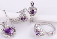 Набор серьги, кулон, цепочка, кольцо Размер белая позолота аметистовые цирконы (GF752