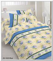 Комплект постельного белья TM Nostra Бязь Голд бежево-синий цветы-клетка Двуспальный евро комплект