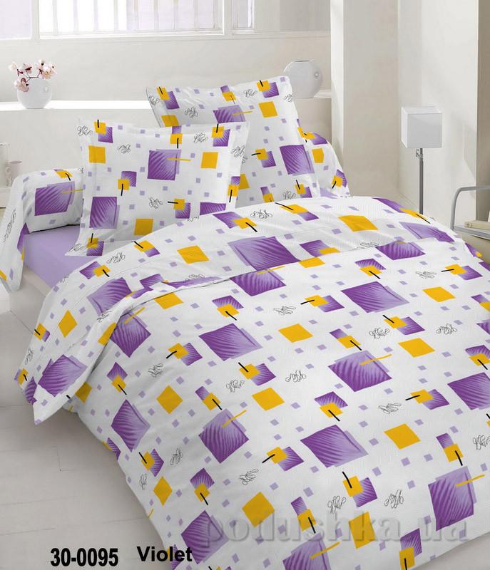 Комплект постельного белья TM Nostra Бязь Голд бело-фиолетовая геометрия Двуспальный евро комплект
