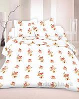 Комплект постельного белья TM Nostra Бязь Голд молочный комбинированный с розами Двуспальный евро комплект