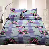 Комплект постельного белья TM Nostra Бязь Голд фиолетово-розовый цветы-геометрия Двуспальный евро комплект