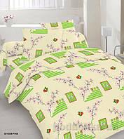 Комплект постельного белья TM Nostra Бязь Голд желтый геометрия-веточкчки Двуспальный евро комплект