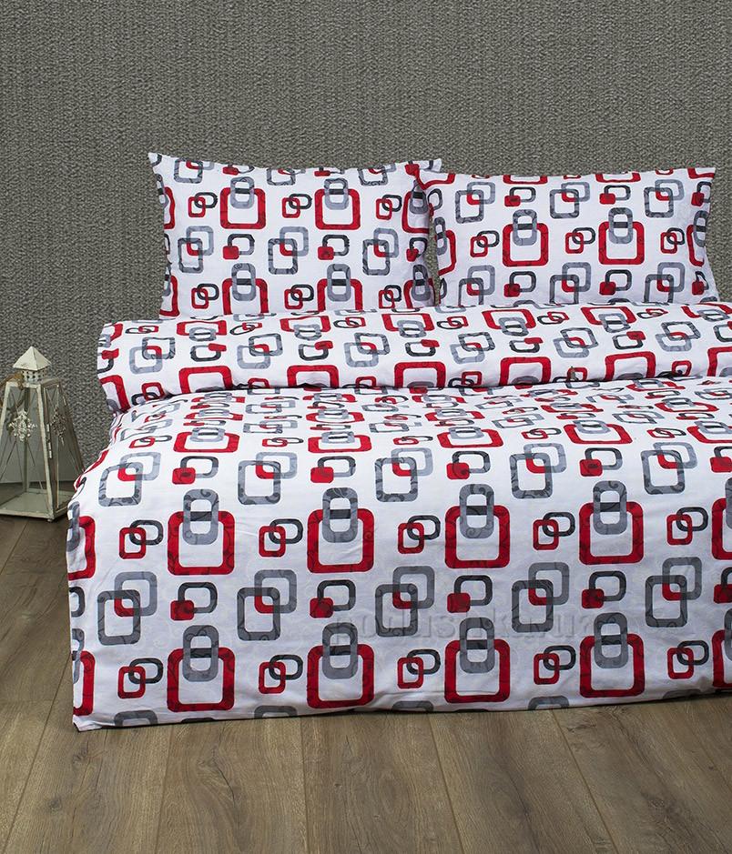 Постельное белье Lotus ранфорс Delta V1 красное Двуспальный евро комплект