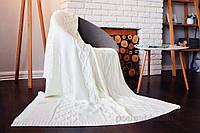 Вязаный плед SoundSleep Carmel молочный 140х180 см
