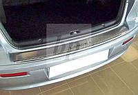 Защитная хром накладка на задний бампер с загибом Mitsubishi lancer X (митсубиси лансер Х седан (10) 2007+)