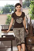 Леопардовый женский комплект с бриджами