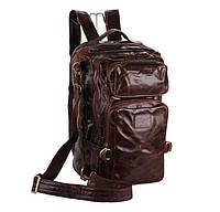 Кожаный рюкзак трансформер, сумка в темно коричневом цвете 7048Q