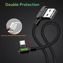 Кабель USB Micro USB Mcdodo с двусторонним USB разъемом LED индикацией для зарядки и передачи данных (Черный,, фото 3