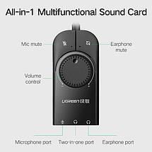 Зовнішня звукова карта Ugreen USB 2.0 c регулятором гучності CM129 (Чорна, 15см), фото 2